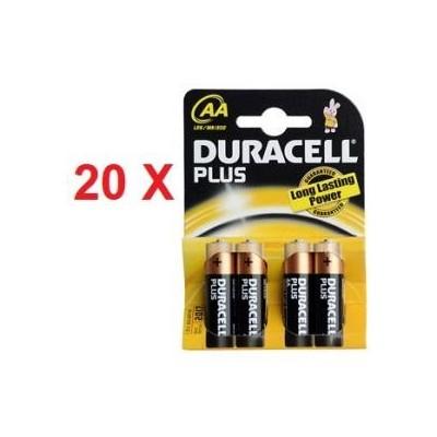 20 blister di Batterie Duracell Stilo plus AA in confezione da 4 pezzi