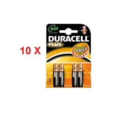 10 blister di Batterie Duracell Ministilo plus AAA in confezione da 4 pezzi