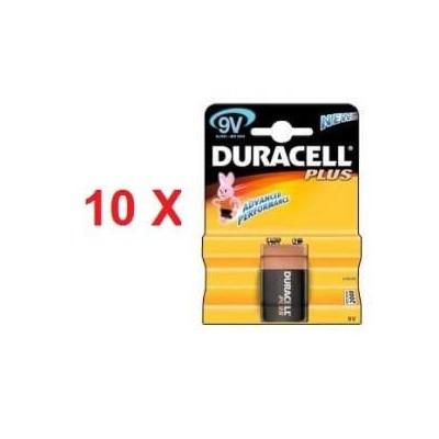 10 blister di Batterie Duracell 9v plus  in confezione da 1 pezzo