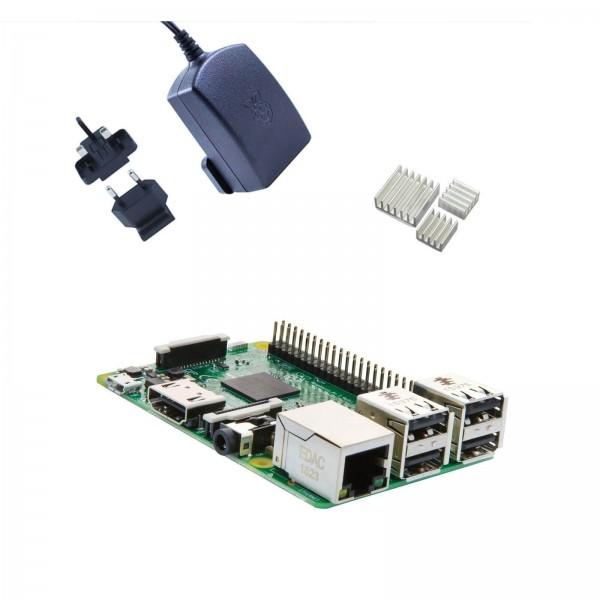 Raspberry Pi 3 Kit Black con Alimentatore Ufficiale e Dissipatori (E02)