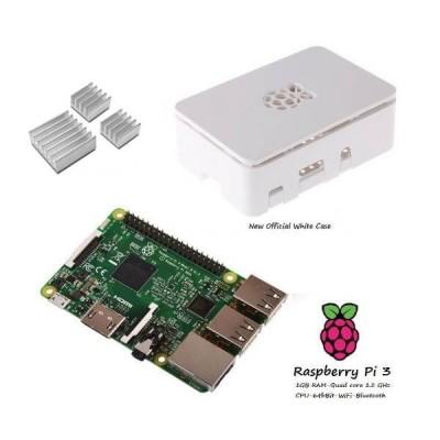 Raspberry Pi 3  + Contenitore Case Bianco + dissipatori Kit (E10)