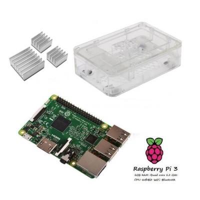 Raspberry Pi 3  + Contenitore Case clear + dissipatori Kit (E11)