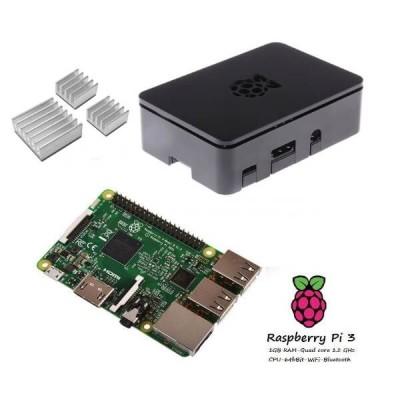 Raspberry Pi 3  + Contenitore Case nero + dissipatori Kit (E12)