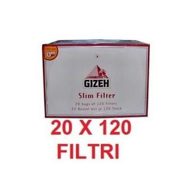20 confezioni di Filtri slim 6mm Gizeh in sacchetto da 120 pezzi