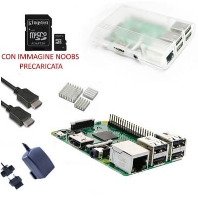 Raspberry Pi 3 Kit con con Alimentatore, Case, SD, HDMI e Dissipatori (E23)