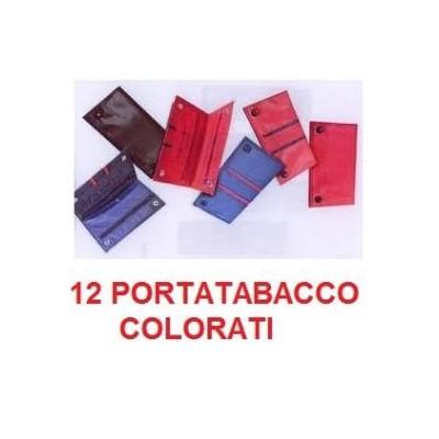 12 Portatabacco in pelle Dora colori misti in confezione