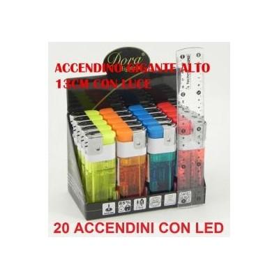 20 Accendini Dora XXL trasparente vari colori con led in confezione