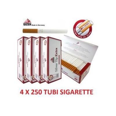 1000 tubi sigarette vuote in 4 confezioni da 250 pezzi Gizeh Extra