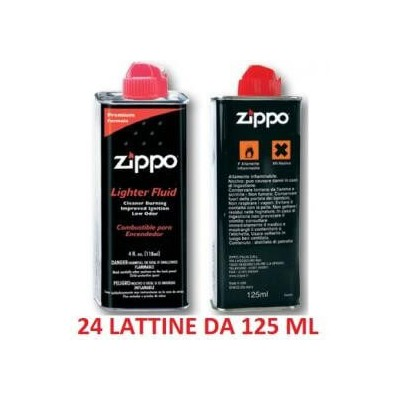 24 lattine flacconi di benzina Zippo di ricambio per accendini da 125 ml in confezione