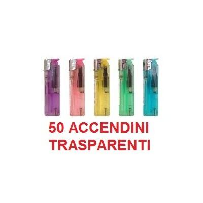 50 Accendini David Ross elettronici ricaricabili trasparenti in confezione