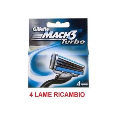4 Lame lamette di ricambio per rasoio Gillette Mach 3 Turbo