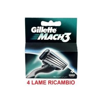 4 Lame lamette di ricambio per rasoio Gillette Mach 3