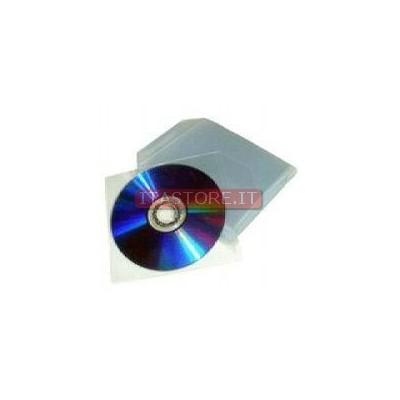100 bustine in plastica pvc con aletta per cd e dvd