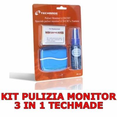 Kit pulizia schermo monitor lcd 3 pezzi con spray panno assorbente e spolverino TECHMADE