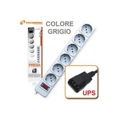 Multipresa ciabatta 6 posti attacchi con spina presa per UPS e interruttore - Techmade SPIX-B-6