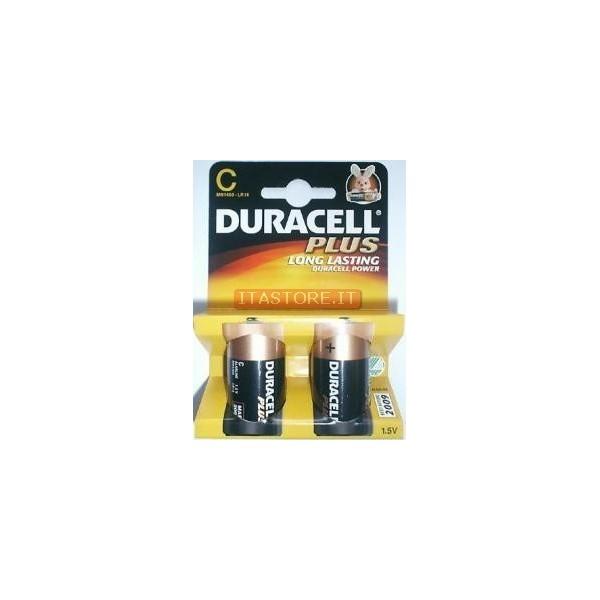 2 Batterie pile alcaline Duracell Plus MezzaTorcia Mezza torcia C in blister