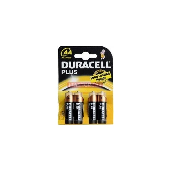4 Batterie pile alcaline Duracell Plus Stilo AA in blister