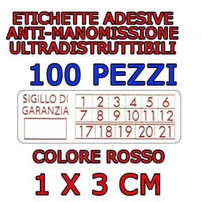 100 Sigilli di garanzia rossi bollini etichette antimanomissione ultradistruttibili adesivi antirimozione