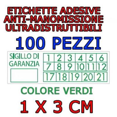 100 Sigilli di garanzia verdi bollini etichette antimanomissione ultradistruttibili adesivi antirimozione