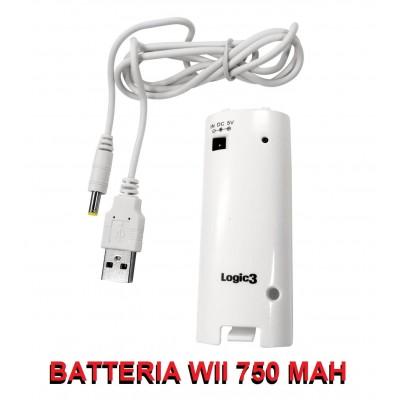 Batteria bianca Wii ricaricabile da 750 mAh per Telecomando Nintendo Wii