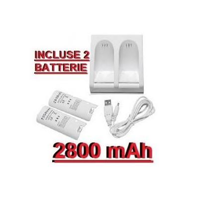 Stazione di ricarica compatibile per Telecomandi della Nintendo Wii con 2 batterie da 2800mAh