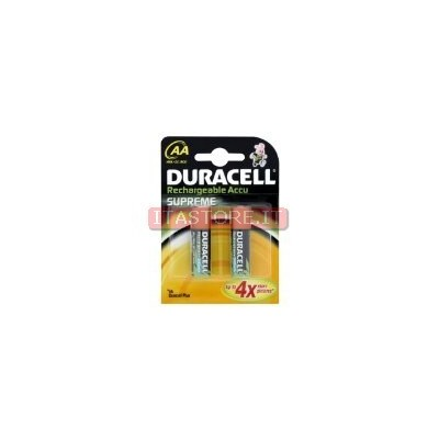 2 Batterie pile Ricaricabili Supreme Stilo AA Duracell 2450 mAh