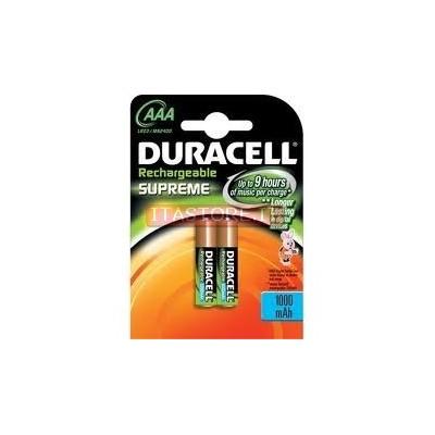 2 Batterie pile Ricaricabili Ministilo Mini stilo Supreme AAA Duracell 1000 mAh
