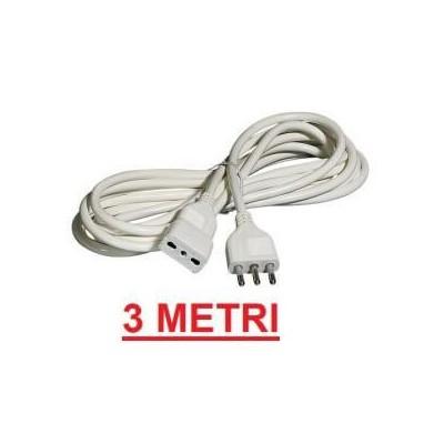Prolunga lineare cavo elettrico 3 metri bianco presa e spina 10A
