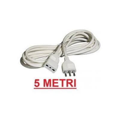 Prolunga lineare cavo elettrico 5 metri bianco presa 10A/16A spina 16A
