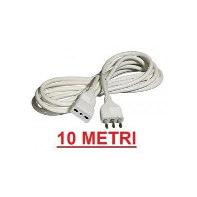 Prolunga lineare cavo elettrico 10 metri bianco presa 10A/16A spina 16A