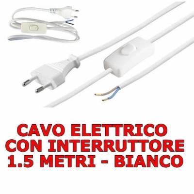Cavo filo elettrico alimentazione aperto con interruttore e spina 10A 1.5 metri