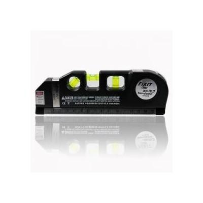 Livella laser e a bolle Pro 3 con metro 2.5 mt, righello, 3 fasci laser a luce rossa