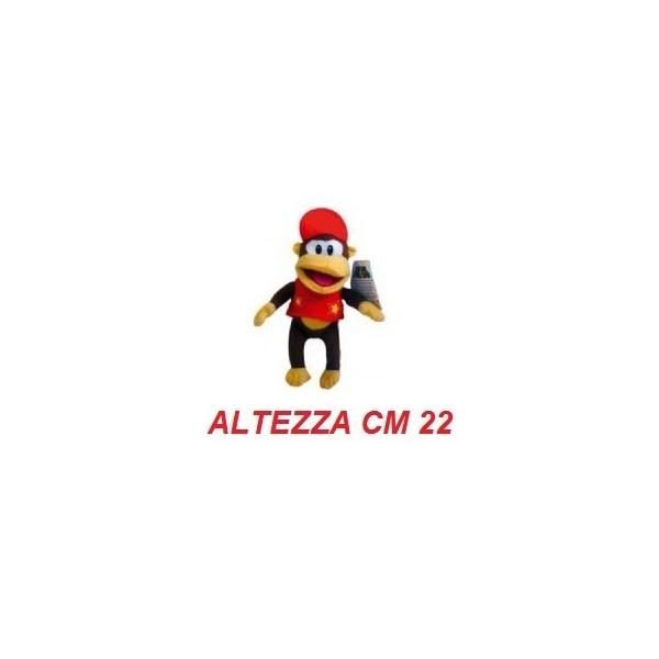 Peluche 22 cm Diddy Kong - linea Super Mario Bros originale Nintendo certificato
