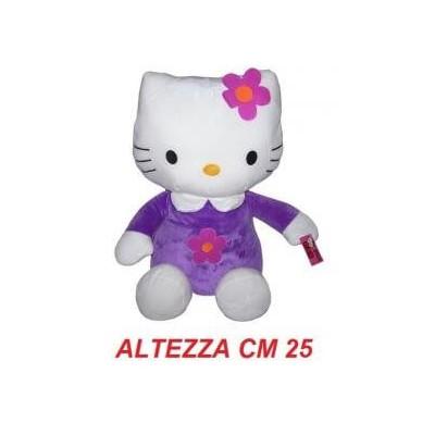Peluche 25 cm T3 Hello Kitty originale Sanrio con tutina viola e fiore rosa