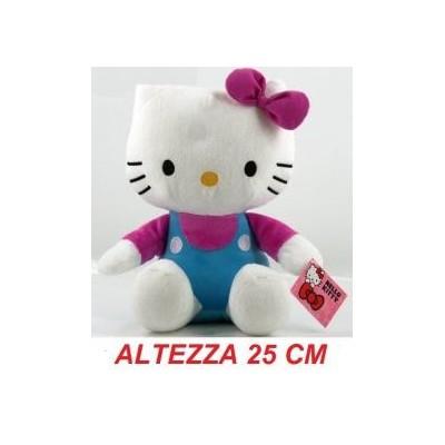 Peluche 25 cm T3 Hello Kitty originale Sanrio con tutina blu e fiocco rosa