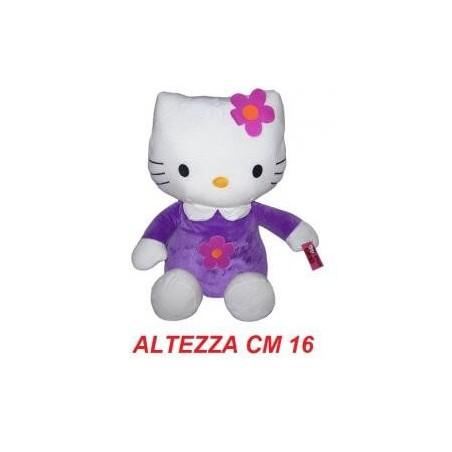 Peluche 16 cm T1 Hello Kitty originale Sanrio con tutina viola e fiore rosa
