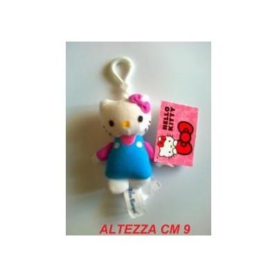 Mini Peluche portachiavi 9 cm Hello Kitty originale Sanrio con vestito blu e maglia rosa