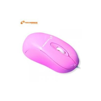 Mini mouse ottico USB rosa con cavo retrattile Techmade TM-1060