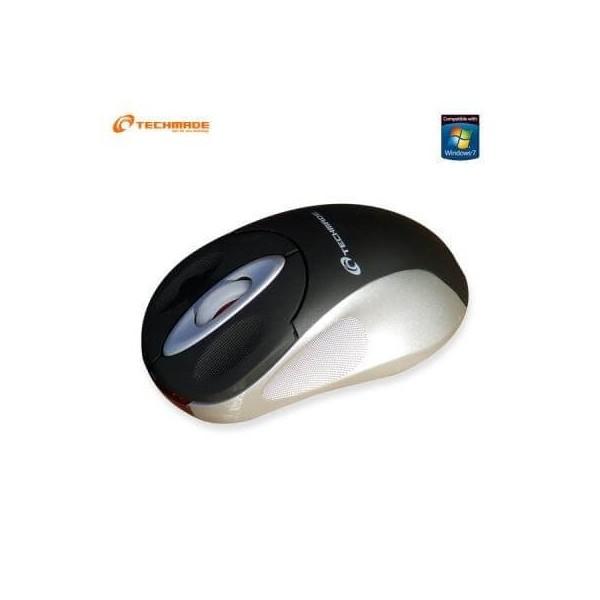 Mini mouse ottico USB nero grigio con cavo retrattile Techmade TM-1060