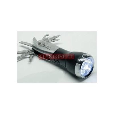 Torcia pila luce a led con utensili estraibili cortellino svizzero
