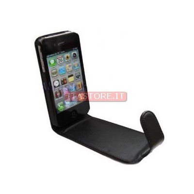 Custodia in finta pelle cover nera black per Apple Iphone 4 4G 4S 4GS