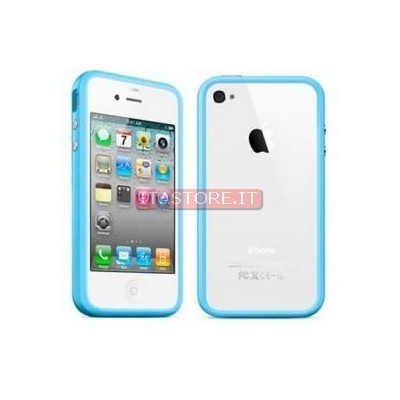 Custodia aperta cover frame bumpers per Iphone 4G 4S celeste