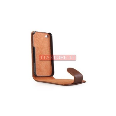 Custodia in finta pelle cover marrone per Apple Iphone 4 4G 4S 4GS