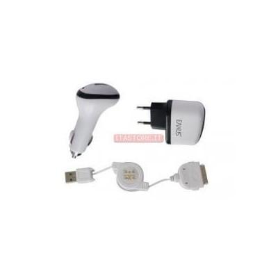 Kit 3 pezzi accessori ricarica batterie auto e rete con cavo retrattile per Iphone 3 4 4G 4S Ipod