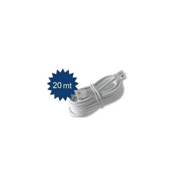 Prolunga cavo filo telefonico RJ11 per telefono coordless colore bianco lunga 20 metri