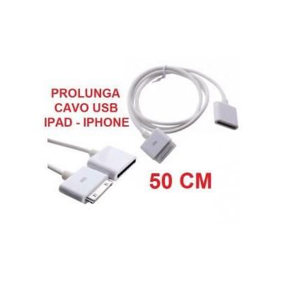 Cavo prolunga cavetto dati usb bianco 50 cm per Iphone 3 4 Ipod Ipad 1 2 4