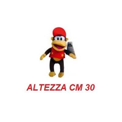 Peluche grande 30 cm Diddy Kong - linea Super Mario Bros originale Nintendo certificato