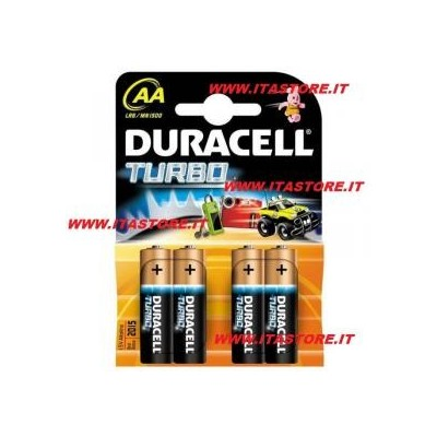 4 Batterie pile alcaline Duracell TURBO Stilo AA a lunga durata in blister