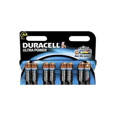 8 Batterie pile alcaline Duracell ULTRA POWER Stilo AA con TESTER in blister