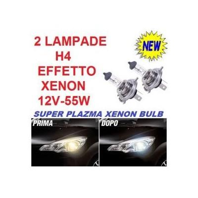 Coppia fari auto lampade alogene H4 12V 60/55W luce bianca effetto Xenon HID
